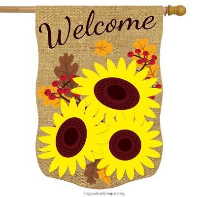 """Fall Sunflowers Burlap House Flag Floral Autumn 28"""" x 40"""" Br"""