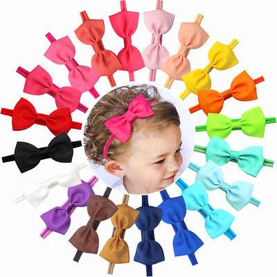 Infant Baby Bows - 20 Baby Girl Headband Bow Grosgrain Ribbon Hair Bow Hair Band for Newborn infant