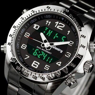 INFANTRY Mens Digital Quartz Wrist Watch Chronograph Army Sport Stainless Steel Chronograph Digital Wrist Watch
