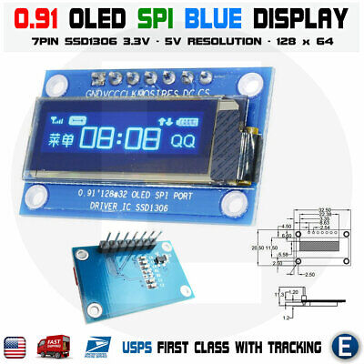 7pin Spi 0.91 Inch Blue 128x32 Oled Lcd Display Screen Ssd1306 For Arduino R3