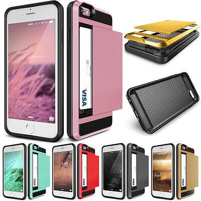 Luxury Slide Card Slot Pocket Hard PC Protector Case Cover For iPhone 5 5s 5G SE ()