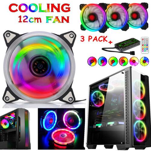 3-Pack PRO 3in1 Kits RGB LED 120mm PC Desktop Frame Computer Case Cooling Fans Computer Case Fans