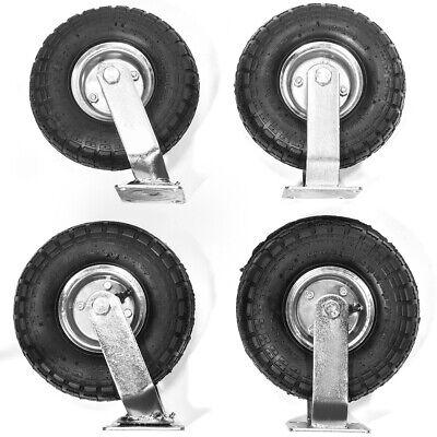 Industrial 4pcs 10 Air Tire Pneumatic 2 Swivel Caster 2 Fixed Wheels Cart