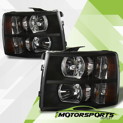 2007-2014 Chevy Silverado 1500 2500 3500 HD Factory Style Black Headlights Pair