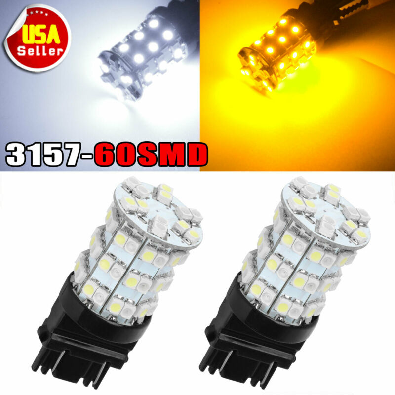 2 x White/Amber Dual Color 3157 60-SMD LED Tail Brake Stop Lights Bulb 3057 3457