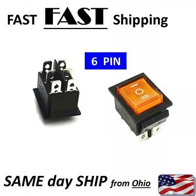 Yellow Rocker Switch Onoffon 3 Position 6pins With Lamp Ac 250v16a