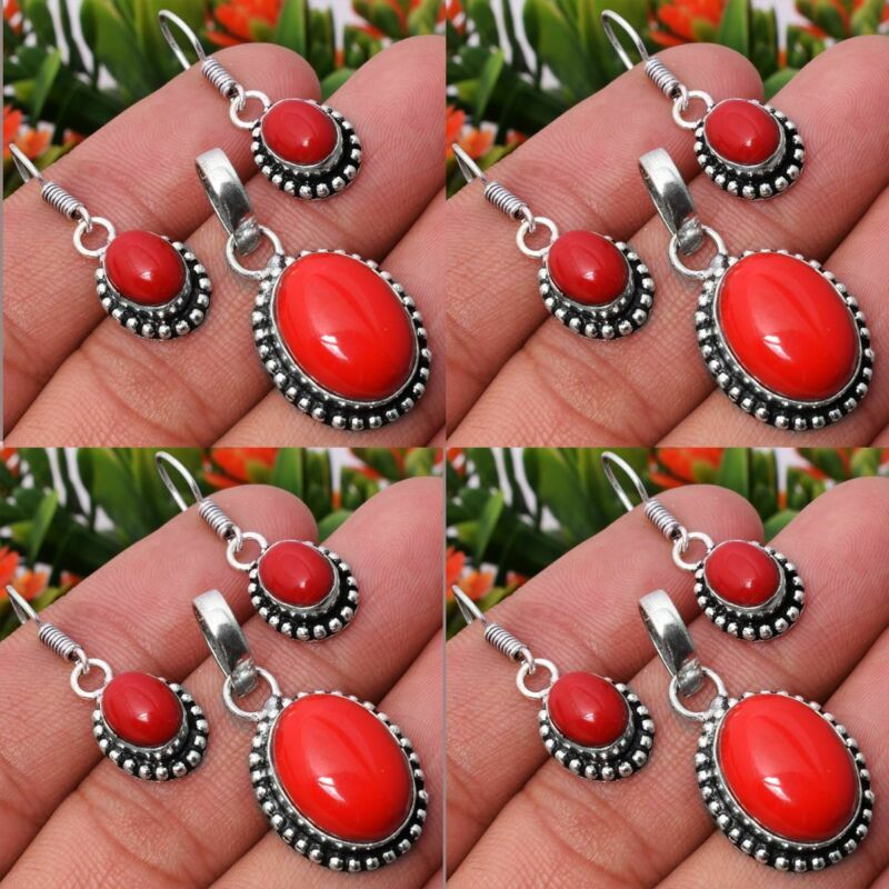 Coral 5pcs 925 Sterling Silver Plated Pendant Earring Sets Jewelry
