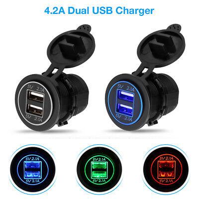 - 12V Car Cigarette Lighter Socket Dual 2.1A USB Port Charger Power Outlet LED USA