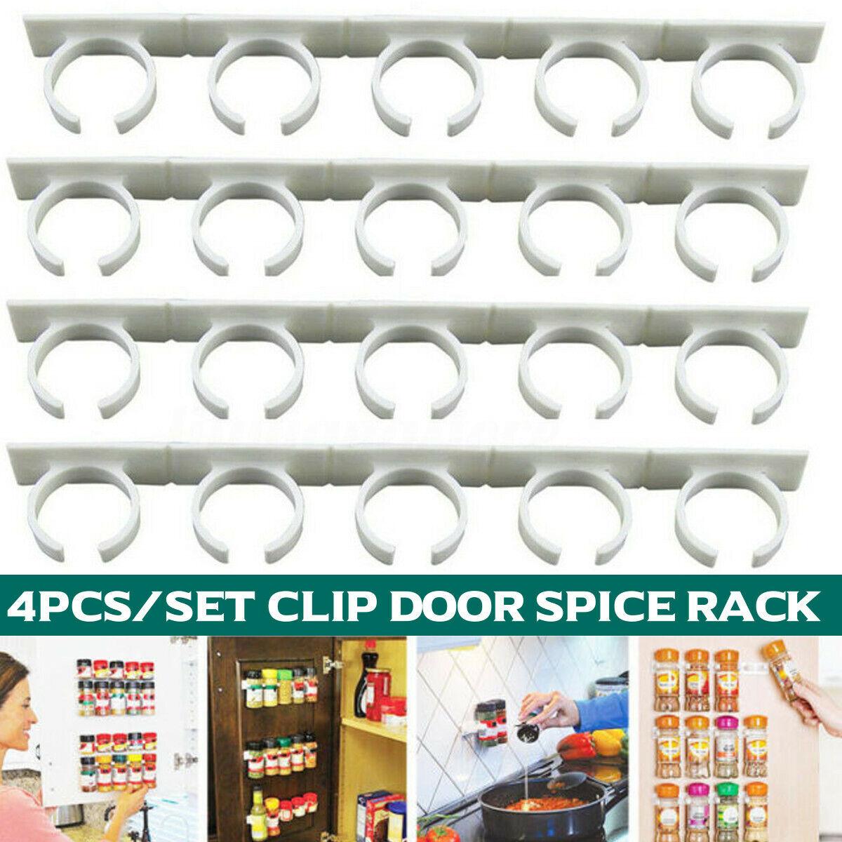 20 Clip Door Spice Rack Organizer Shelf Jar Kitchen Cabinet