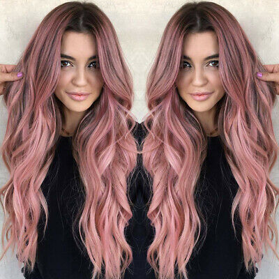 Women Long Wig Black Pink Rose Taro Color Ombre Wavy Hair Hairstyle US](Pink Ladies Hairstyle)