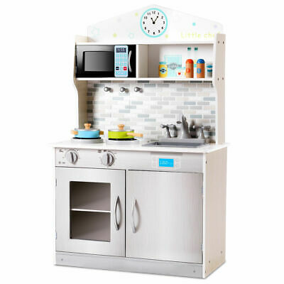 Wooden Kitchen (Kids Wooden Pretend Cooking Playset Cookware Play Set Kitchen Toys Toddler)