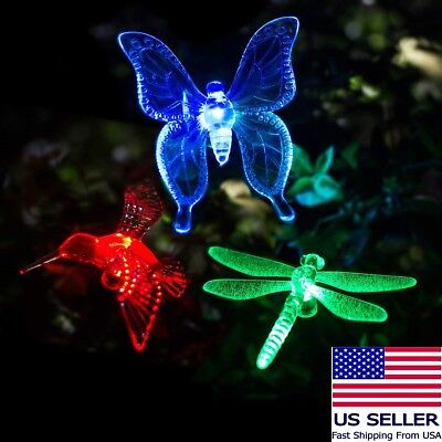Solar Powered Garden Stake Butterfly, Hummingbird or Dragonfly Yard Light Decor - Hummingbird Stake Light