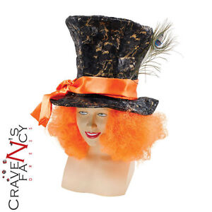 Mad Hatter Top Hat with Hair Alice in Wonderland Costume Mens Accessory Book Day