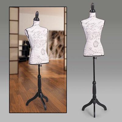 Female Mannequin Torso Dress Form Display W Black Tripod Stand Beige Designer