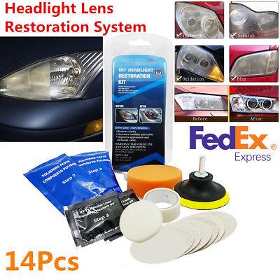 Car Headlight Lens Restoration Repair Kit Restorer System Professional Tool (US)