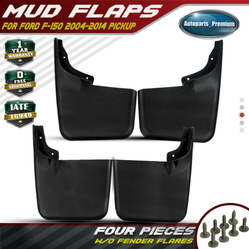 4x Rear/&Front Splash Guards Mud Flaps for Ford F-150 2015-2018 w// Fender Flares