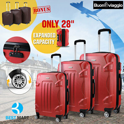 3PCS ABS Luggage Set w/TSA Lock Travel Bag Trolley Spinner 4 Wheels Suitcase Red