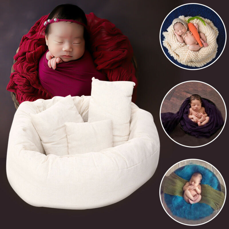 4PCS Newborn Baby Photography Posing Pillow Poser Backdrop Photo Prop Basket