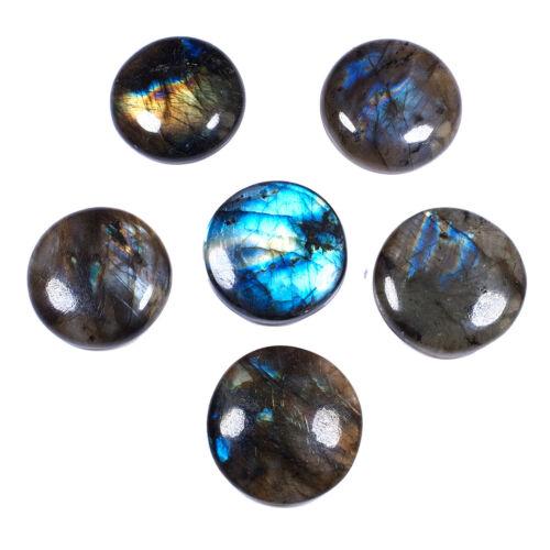 6 Pcs Natural Labradorite 23mm-25mm Flashy Loose Round Cabochon Gemstones Lot