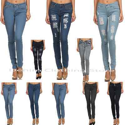Destroyed Stretch Jeans (D.Rock Women's Plain Stretch Destroyed Ripped Distressed Slim Skinny Denim)