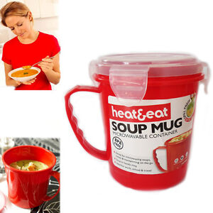Microwave Soup Mug Red Heat & Eat Handy Container (BPA Free) Spill-Proof Bowl