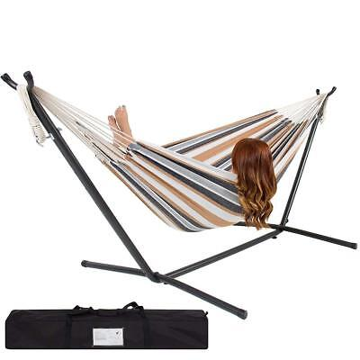 DOUBLE HAMMOCK WITH SPACE SAVING STEEL STAND & PORTABLE CARRING CASE