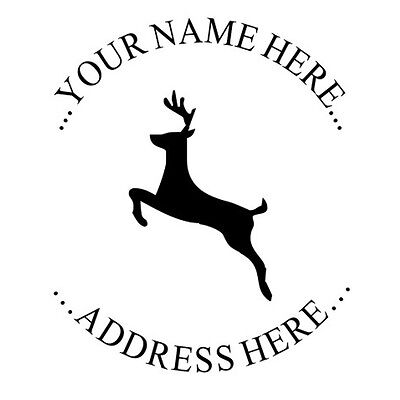 Custom Address Round Self Inking Rubber Stamp With Jumping Deer Design