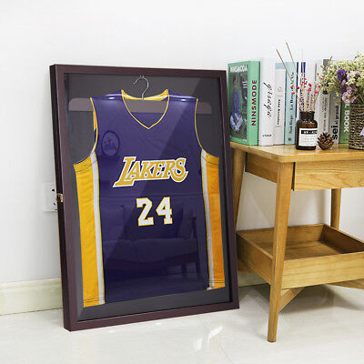 Jersey Display Case Wall Frame Shadow Box Cabinet Football Baseball Basketball