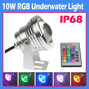 Outdoor 10W RGB Underwater LED light Pool Pond Waterproof Spotlight IP68 12V IR