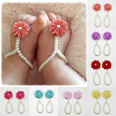Baby Kids Girls Pearl Flower Toddler Barefoot Foot Flower Band Sandals Socks (Barefoot Sock Sandals Baby)