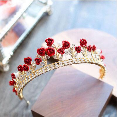 Red Bride Crown Tiara Fashion Rhinestone Rose Flower Headband Hair Accessories - Red Tiaras