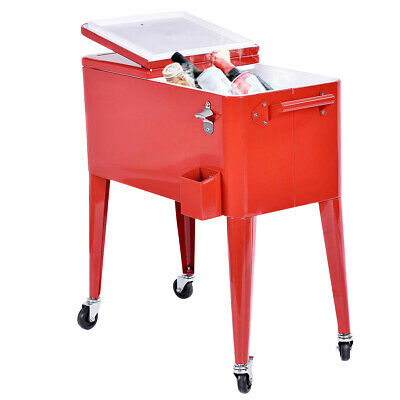 Patio Beverage Cart - 80 Quart Red Outdoor Patio  Cooler Cart Ice Beer Beverage Portable Chest Party