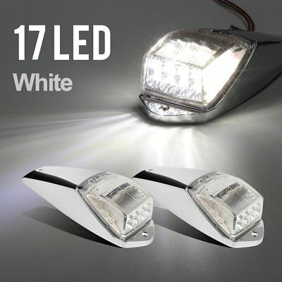 2pcs 17LED ClearWhite Cab Roof Marker Light Chrome for Kenworth Freightliner