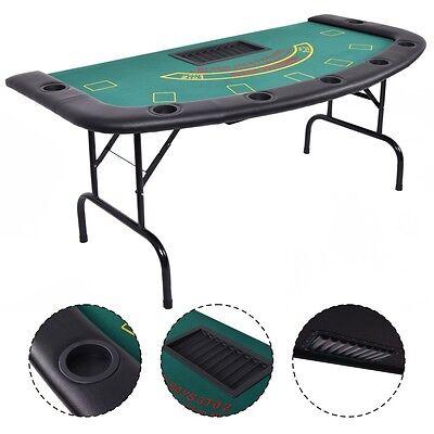 Folded 7 Player Pocker Blackjack Table Texas Holdem Car Game W/ Chip&Cup Holder