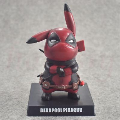 Pokemon's Detective Pikachu Deadpool Cosplay PVC Figure Statues Model Toys Gifts