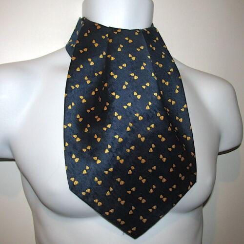 Beau Brummell Vintage Ascot Mens Neckwear Cravat Navy Blue Gold Mid Century