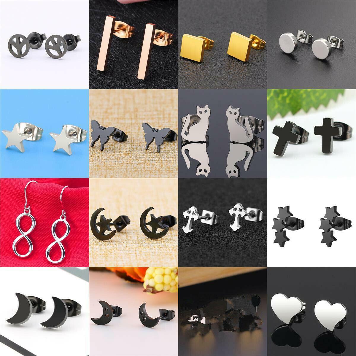 Women Stainless Steel Elegant Threader Stud Earrings Fashion