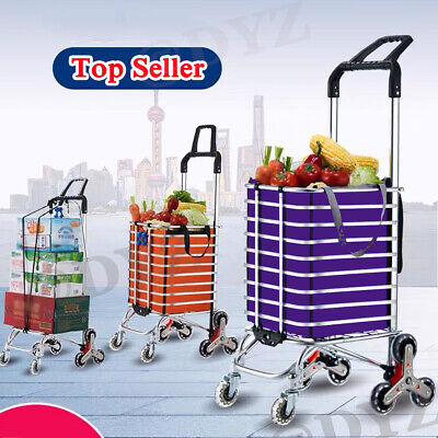 Folding Aluminum Shopping Cart Portable Utility Carts Home Grocery Laundry Cart