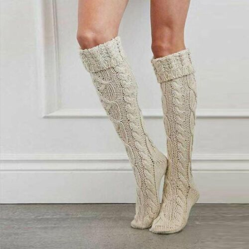Women Girl Over The Knee Long Socks Braided Knit Warm Soft Thigh High Stockings