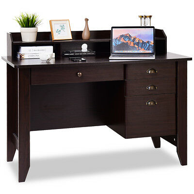 Computer Desk PC Laptop Penmanship Table Workstation Student Study Furniture Brown