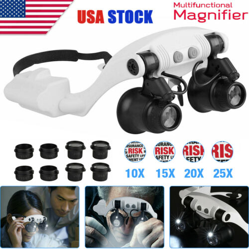 Headband Head Magnifier 8 Lens LED Light Jeweler Watch Loupe Magnifying Glasses