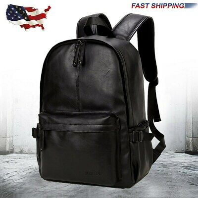 Men Leather Backpack Rucksack School Laptop Satchel Bookbag