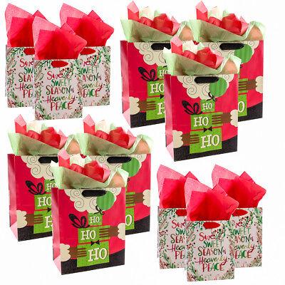 12pk Hallmark Black Santa Christmas Holiday Gift Bag Assortm