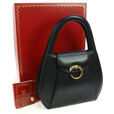 Authentic Cartier Panther Logos Hand Bag Black Leather Vintage GHW GOOD JT06636c