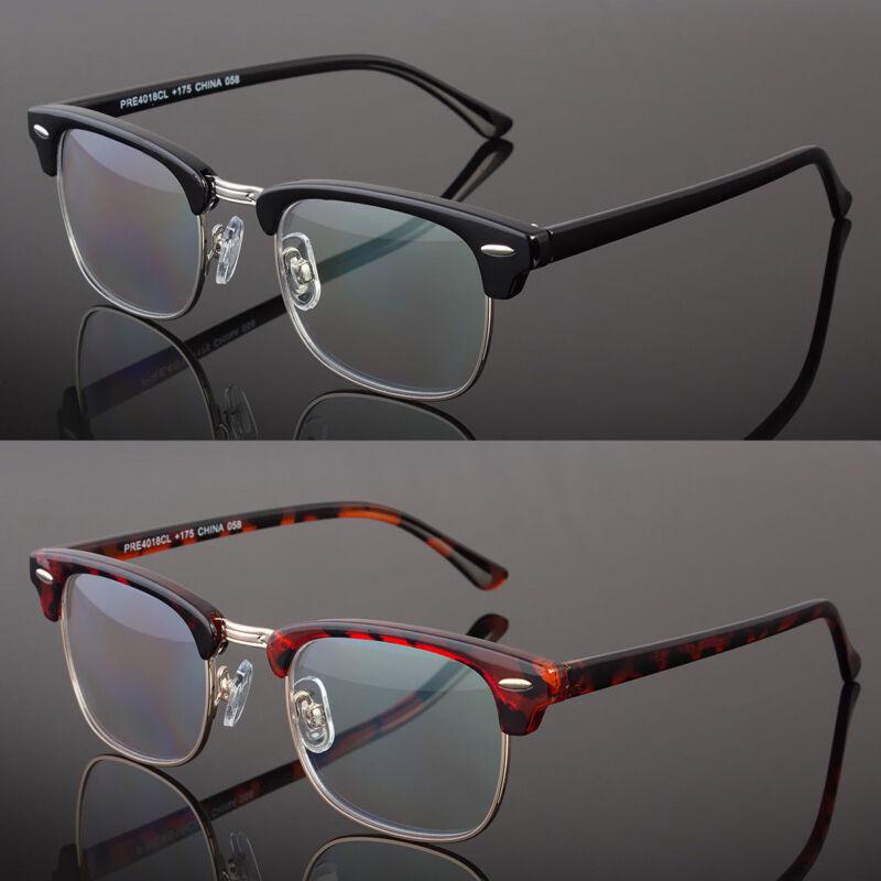 Multi Focus Progressive Reading Glasses 3 Powers in 1 Reader Rectangle Half Rim