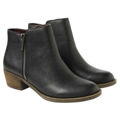Kensie Women's Black Leather Ghita Short Ankle Boots uk size 5  - NEW WITH BOX