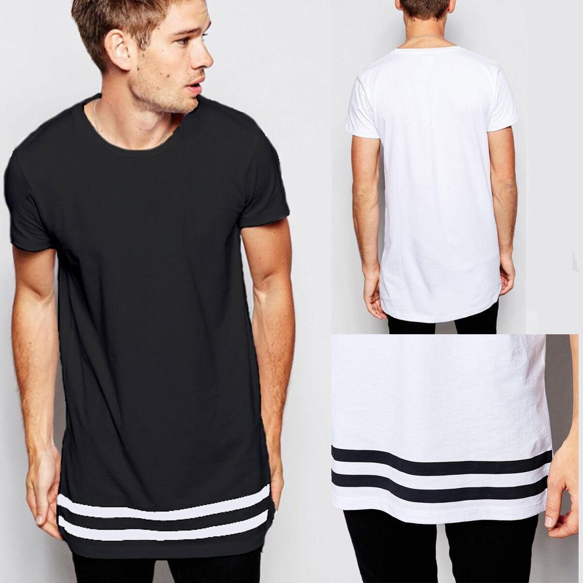 3bb582658a74 Men's Long Length Longline T-Shirts Men's Extended Top Premium Quality Tee