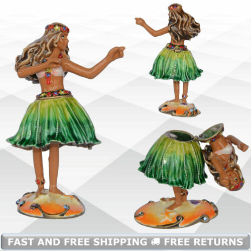 Hula Dancer Miniature Metal Hinged Jewelry Trinket Box With Lid Decor Ornament