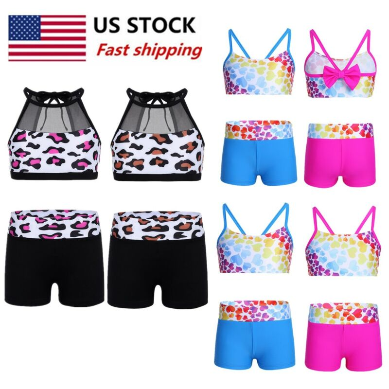 Dkhsy 2Pcs Girls Sleeveless Sports Bra Crop Top with Shorts Set for Gymnastics Leotard Dancing or Swimming Girls Dance Sports Athletic Set Rainbow Color