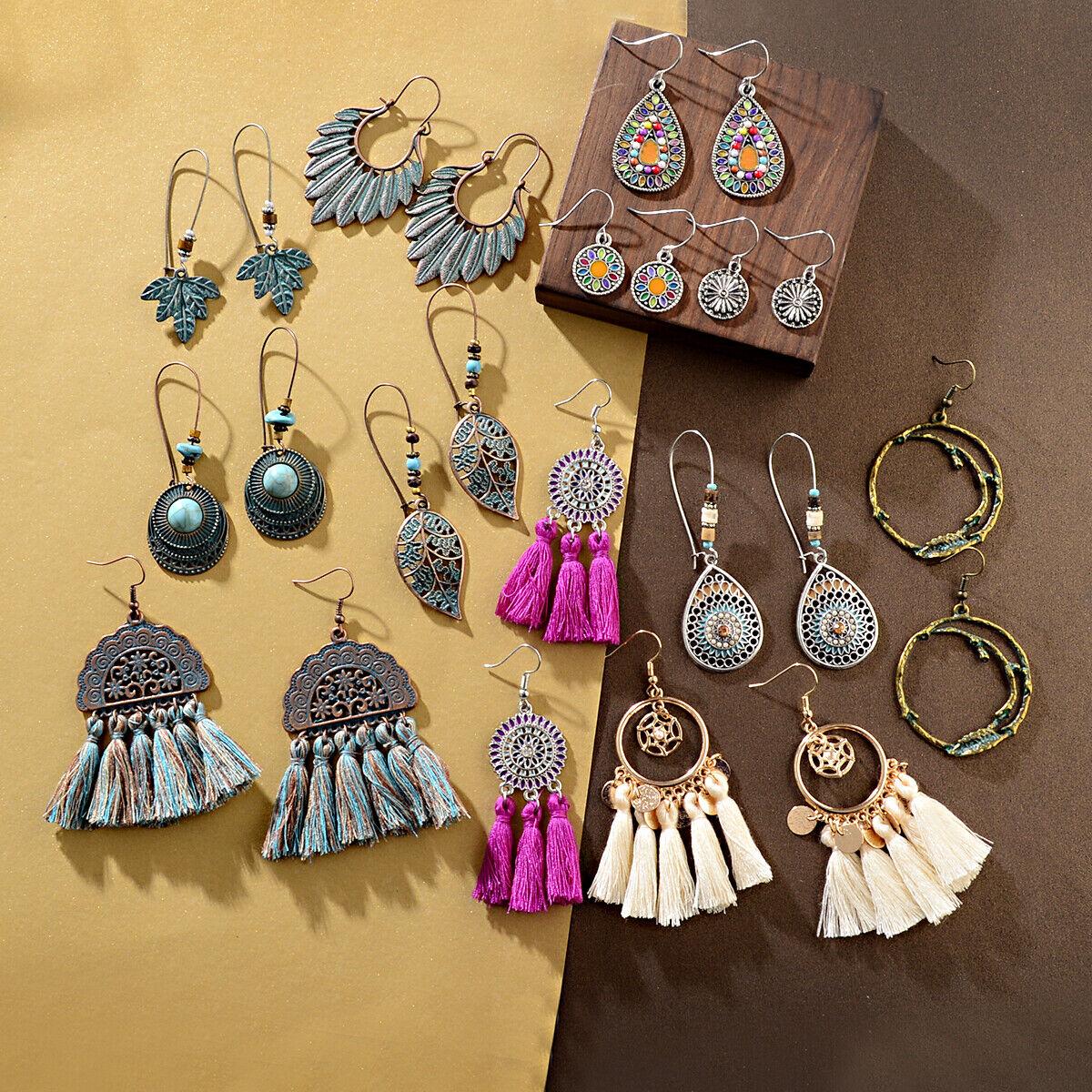 12 Pairs Women's Boho Earrings Dangle Pendant Earrings Long